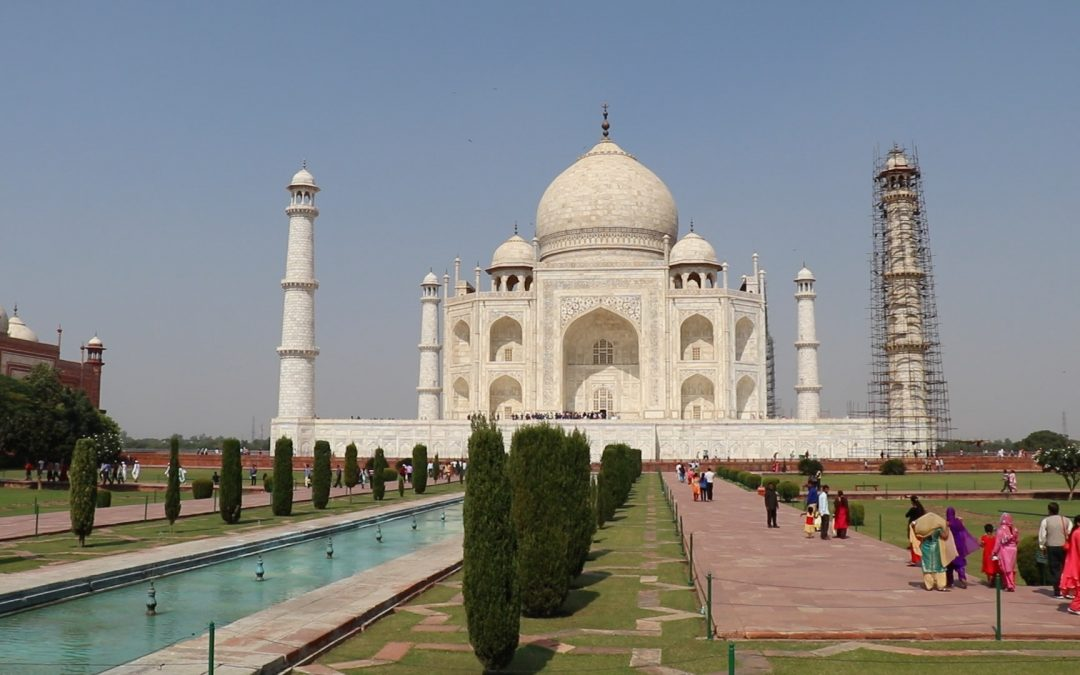 The Taj Mahal on a Royal Enfield Bullet Motorcycle